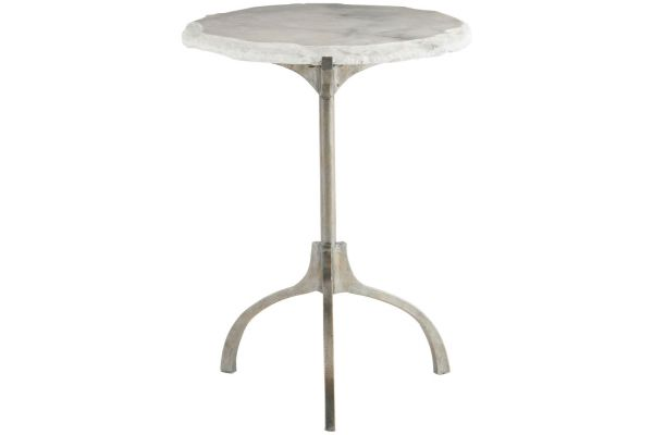 Large image of Bernhardt Matte Silver Hadera Chairside Table - 366-101