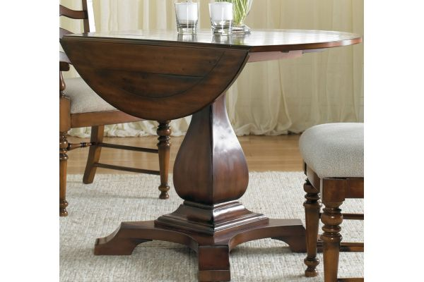 Hooker Furniture Distressed Antique Cherry Dining Room Waverly Place Round Drop Leaf Pedestal Table - 366-75-218