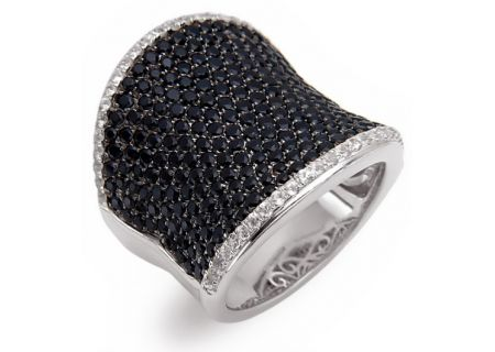 Charles Krypell Sterling Silver Black And White Sapphire Ring - 3-6807-SBSWS