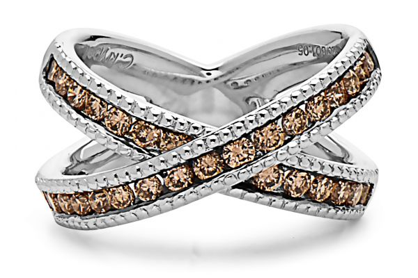 Large image of Charles Krypell Brown Diamond X Ring - 36951SBRP