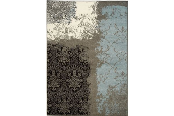 "Large image of Kalora Casa 1'11"" X 3'7"" Charcoal Beige Transitional Vintage Lace Rug - 3758/274 60110"