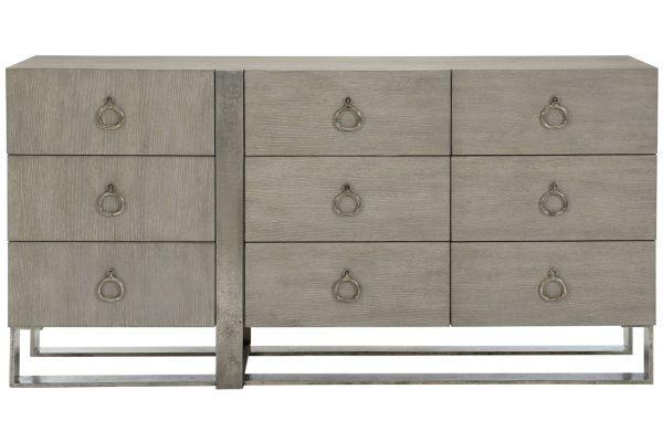 Large image of Bernhardt Linea Cerused Greige 9 Drawer Dresser - 384-052G