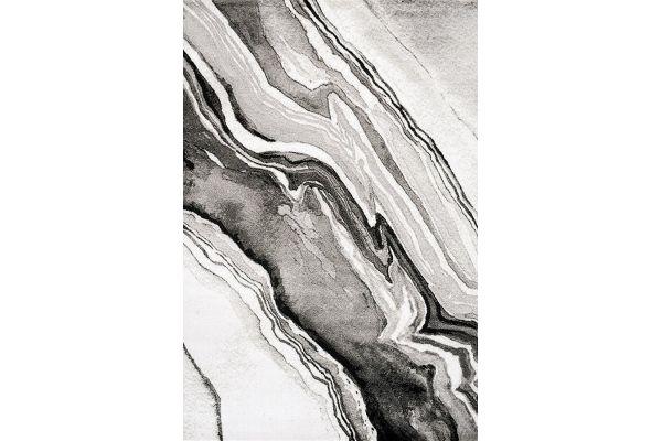 """Large image of Kalora Platinum 5'3"""" X 7'7"""" Grey White Sediments Pile Rug - 3903/31 160230"""