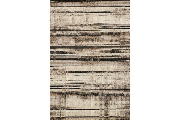 "Large image of Kalora Platinum 5'3"" X 7'7"" Beige Brown Distressed Stripes Rug - 3911/63 160230"