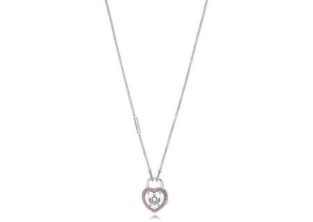PANDORA Fancy Fuchsia Pink CZ Lock Your Promise Necklace - 396583FPC-60