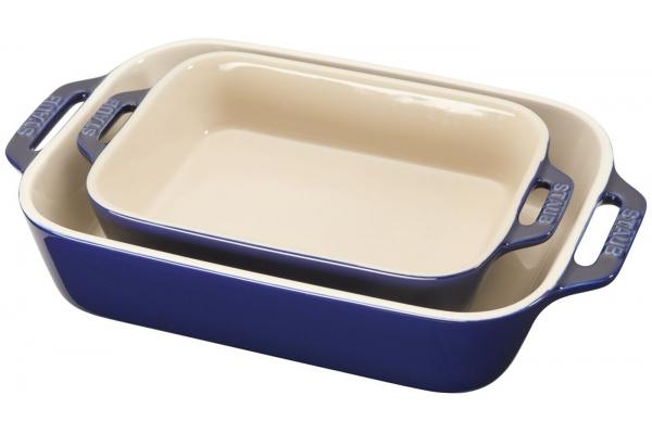 Large image of Zwilling J.A. Henckels Staub Ceramics 2-Piece Dark Blue Rectangular Baking Dish Set - 40508-628