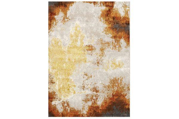 "Large image of Kalora Parlour 5'3"" X 7'7"" Cream Orange Distressed Abstract Rug - 41040/000 160230"