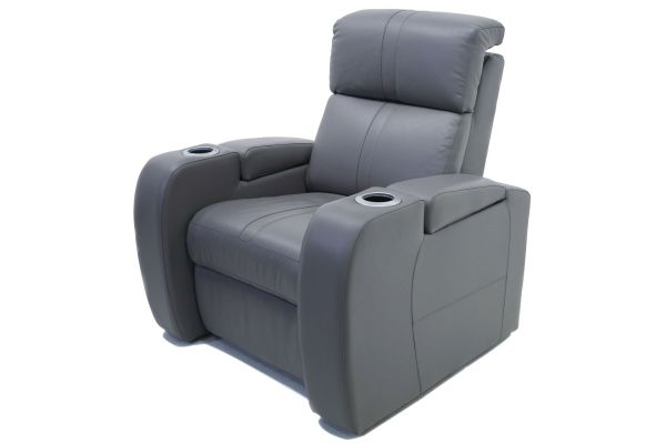 Palliser Flicks Series Storm Grey Leather Power Recliner - 41416-1E-TULSA2M-STORM
