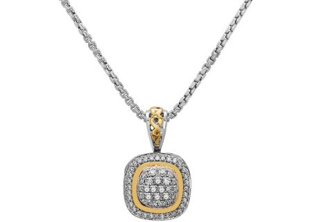 Charles Krypell Pave Silver And Gold Diamond Necklace - 4-6463-SWHTP