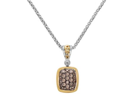 Charles Krypell Pave Silver And Gold Brown Diamond Necklace - 4-6507-SBRP