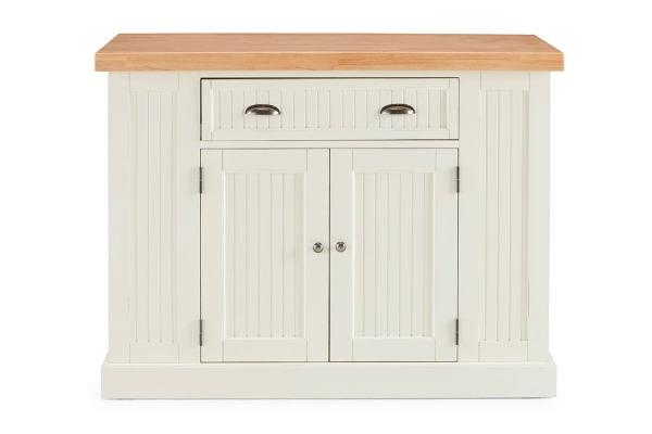 Large image of Homestyles Nantucket Solid Wood Top White Kitchen Island - 5022-94N