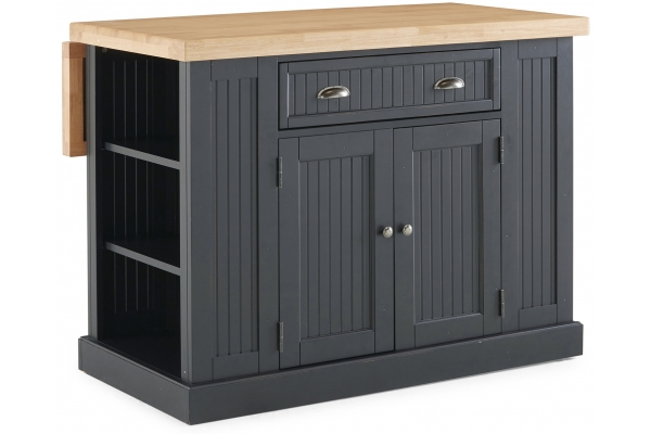 Large image of Homestyles Nantucket Black And Solid Wood Top Kitchen Island - 5033-94N