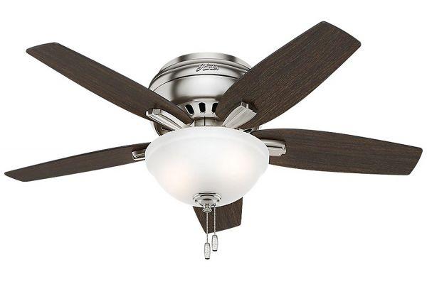 "Large image of Hunter Newsome 42"" Medium Walnut/Dark Walnut Low-Profile Ceiling Fan - 51082"
