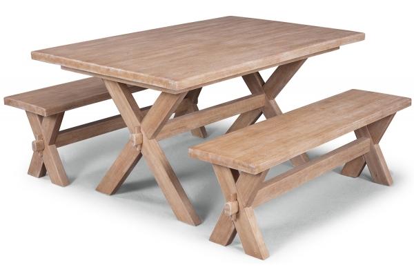 Large image of Homestyles Cambridge Whitewash Trestle Table & 2 Benches - 5170-3129