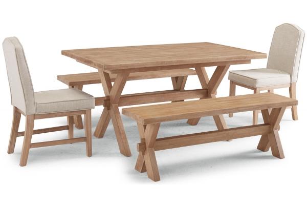 Large image of Homestyles Cambridge Whitewash 5 Piece Rectangular Trestle Dining Table Set - 5170-3198