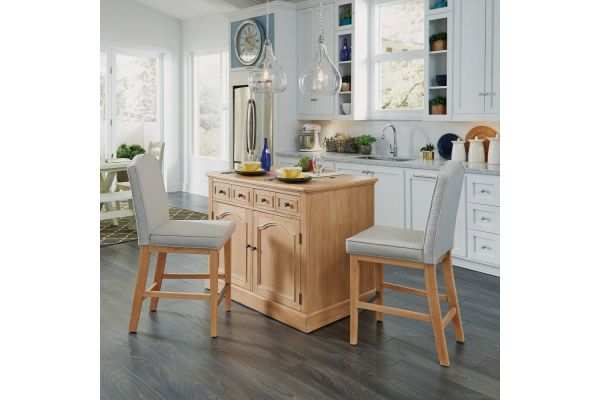 Large image of Homestyles Cambridge Kitchen Island And Two Counter Stools - 5170-948