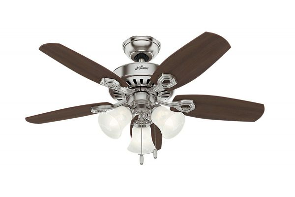 """Large image of Hunter 42"""" Brazilian Cherry/Harvest Mahogany Builder Ceiling Fan For Small Rooms - 52106"""