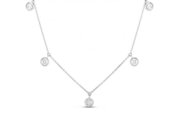 Large image of Roberto Coin 18K White Gold Five Diamond Drop Station Necklace - 530009AWCHX0