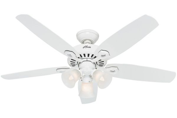 "Large image of Hunter Builder Plus 52"" Snow White Ceiling Fan - 53236"