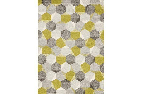 """Large image of Kalora Camino 5'3"""" X 7'7"""" Green Grey Honeycomb Rug - 5387/8V64 160230"""