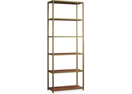 Hooker Furniture Mid Century Modern Walnut Home Office Studio 7H NYPL Tall Metal Bookcase - 5398-10443