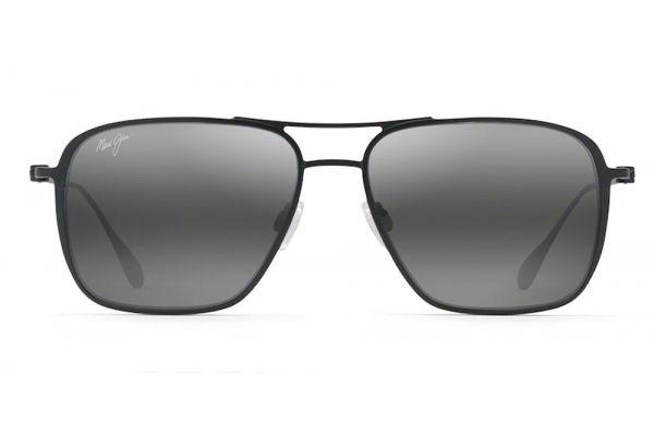 Large image of Maui Jim Black Matte Beaches Polarized Classic Aviator Mens Sunglasses - 5412M