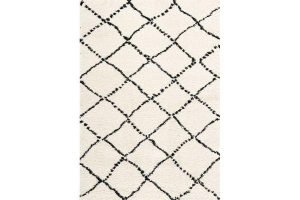"Large image of Kalora Maroq 5'3"" X 7'7"" Black White Diamonds Soft Touch Rug - 5413/3Y18 160230"