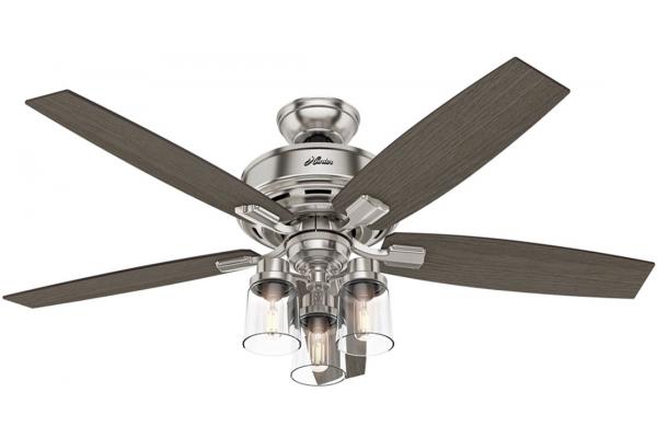 "Large image of Hunter Bennett 52"" Brushed Nickel Ceiling Fan With 3 Lights - 54190"