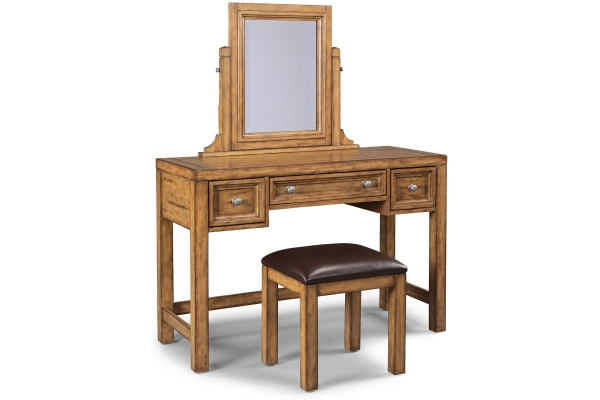 Large image of Homestyles Sedona Toffee Vanity & Mirror With Bench - 5420-72