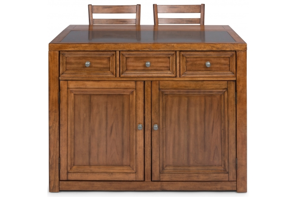 Large image of Homestyles Sedona Toffee Quartz Top Kitchen Island And 2 Stools - 5420-948Q