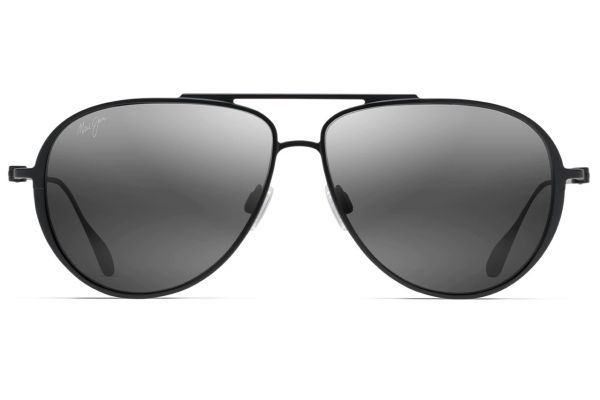 Maui Jim Matte Black Shallows Polarized Aviator Sunglasses - 543-2M