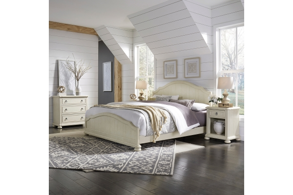 Large image of Homestyles Provence Antiqued White King Bed, Nightstand And Chest - 5502-6021