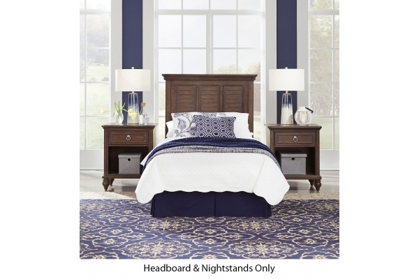 Large image of Homestyles Southport Distressed Oak Twin Headboard & 2 Nightstands - 5503-4015