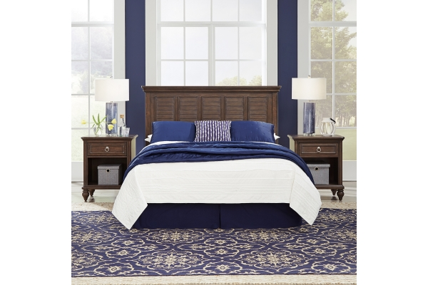 Large image of Homestyles Southport Distressed Oak Queen/Full Headboard & 2 Nightstands - 5503-5015