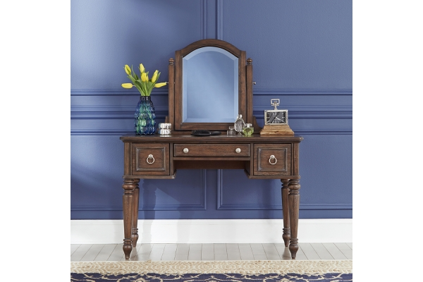Large image of Homestyles Southport Distressed Oak Vanity & Mirror - 5503-70