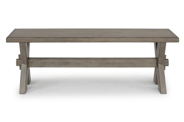 Large image of Homestyles Mountain Lodge Grey Trestle Dining Bench - 5525-29