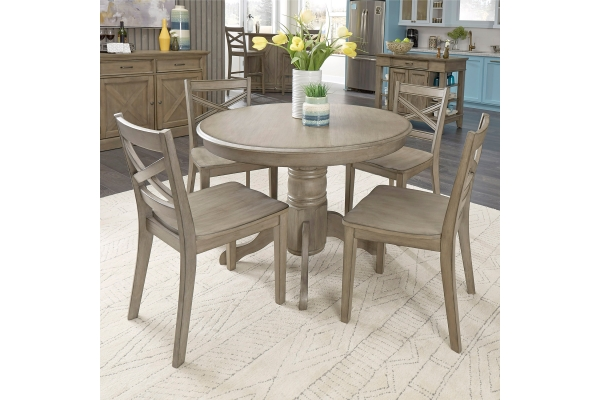 Large image of Homestyles Mountain Lodge Gray 5-Piece Dining Set - 5525-308
