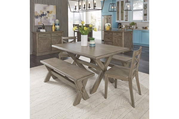 Large image of Homestyles Mountain Lodge Gray 5-Piece Dining Set - 5525-3128