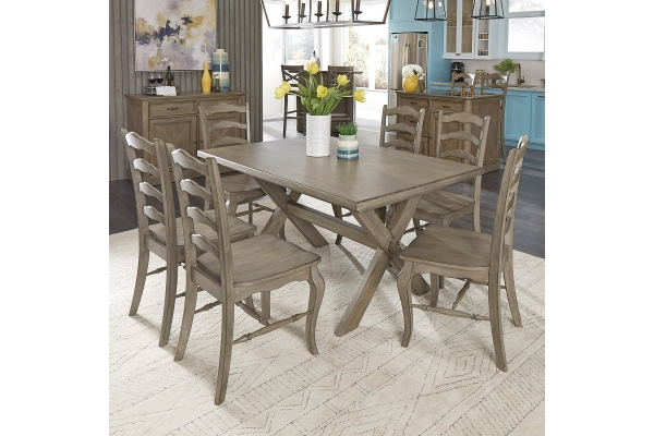 Large image of Homestyles Mountain Lodge Gray 7-Piece Dining Set - 5525-318