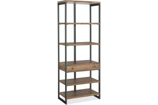 Large image of Hooker Furniture Home Office Casual Medium Natural Wood Bookcase - 5681-10445-MWD