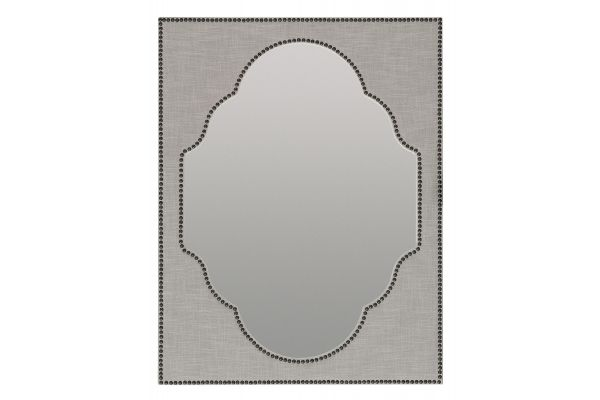 Large image of Hooker Furniture Bedroom Boheme Nourmand Linen Wrapped Mirror - 5750-90008-GRY