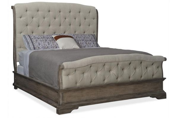 Large image of Hooker Furniture Woodlands Collection Queen Upholstered Bed - 5820-90850-84