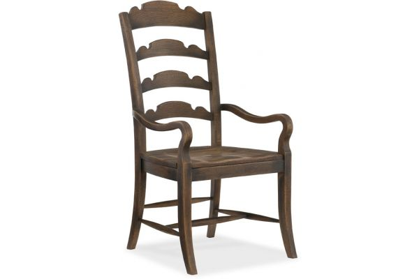 Large image of Hooker Furniture Dining Room Twin Sisters Ladderback Arm Chair - 5960-75300-BRN