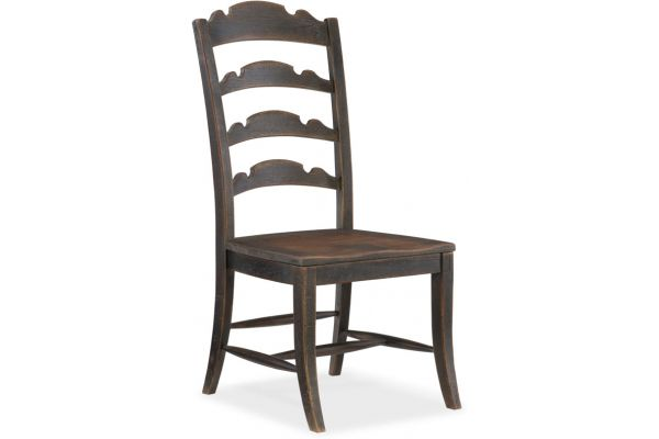 Large image of Hooker Furniture Dining Room Twin Sisters Ladderback Side Chair - 5960-75310-BLK