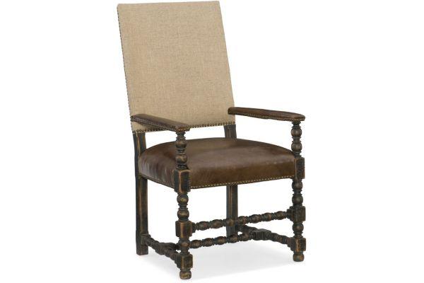 Large image of Hooker Furniture Dining Room Comfort Upholstered Arm Chair - 5960-75400-BLK