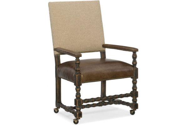Large image of Hooker Furniture Dining Room Comfort Castered Game Chair - 5960-75500-BLK