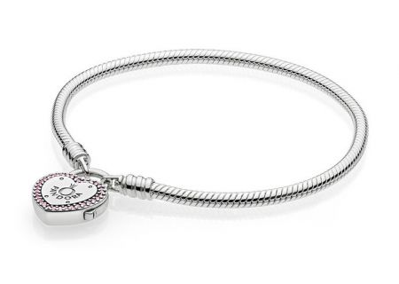 PANDORA Fancy Fuchsia Pink & Clear CZ Lock Your Promise Bracelet - 596586FPC-19