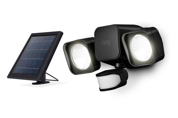 Large image of Ring Smart Lighting Black Solar Floodlight - B07YP9VVMM