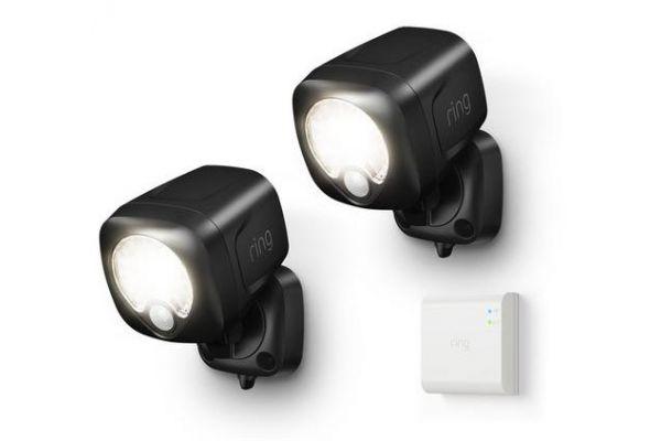 Large image of Ring Smart Lighting Black Spotlight 2-Pack + Bridge - B07QLNH537