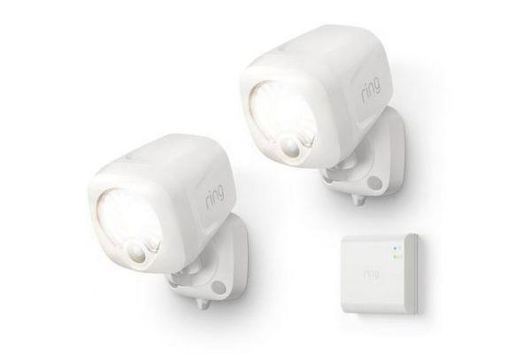 Large image of Ring Smart Lighting White Spotlight 2-Pack + Bridge - B07QLNH8T2